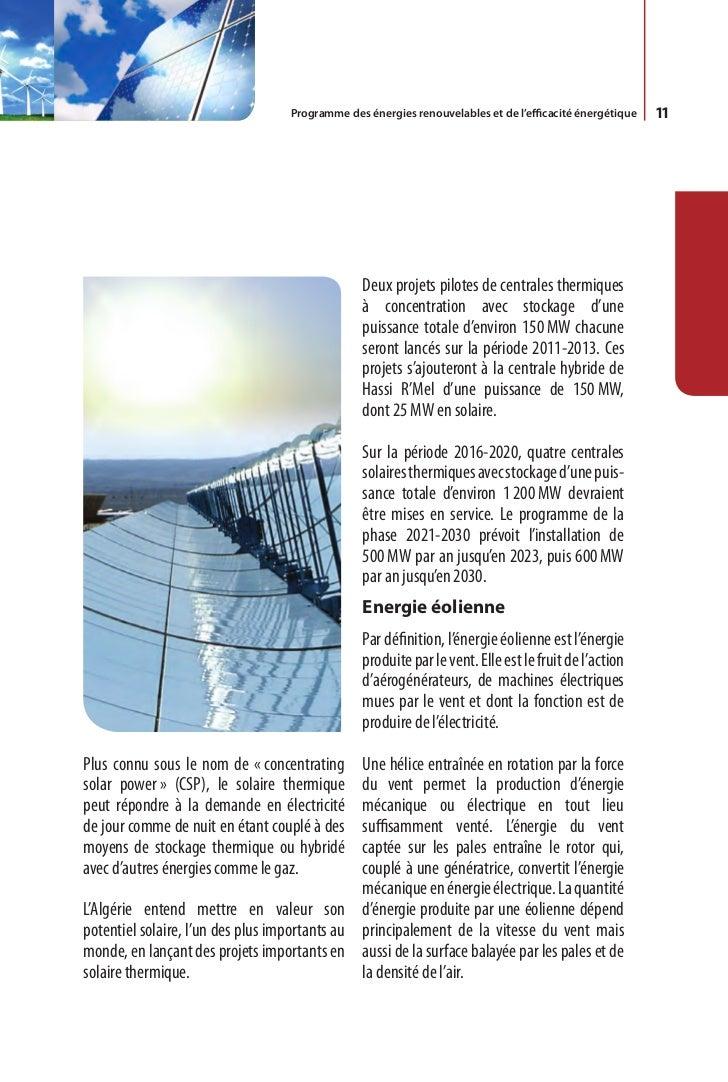 12     Le programme EnR algérien prévoit dans un      Des études seront menées pour détecter les     premier temps, sur la...
