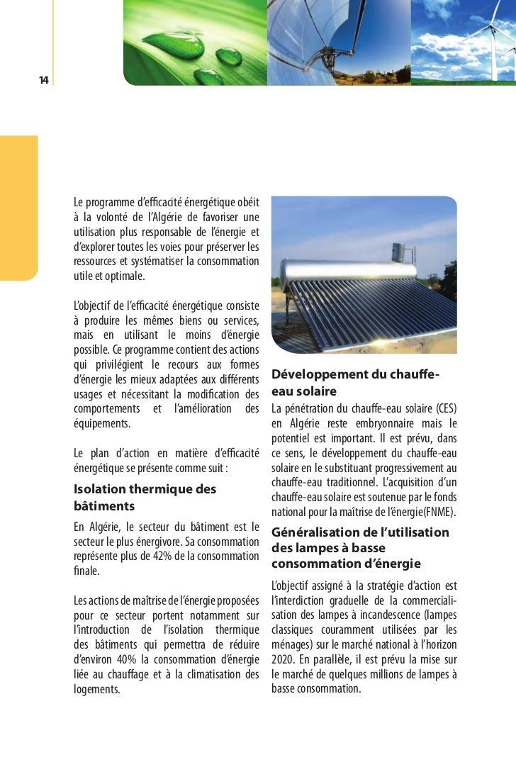 Programme des énergies renouvelables et de l'efficacité énergétique   15Par ailleurs, la production locale des lampes     ...