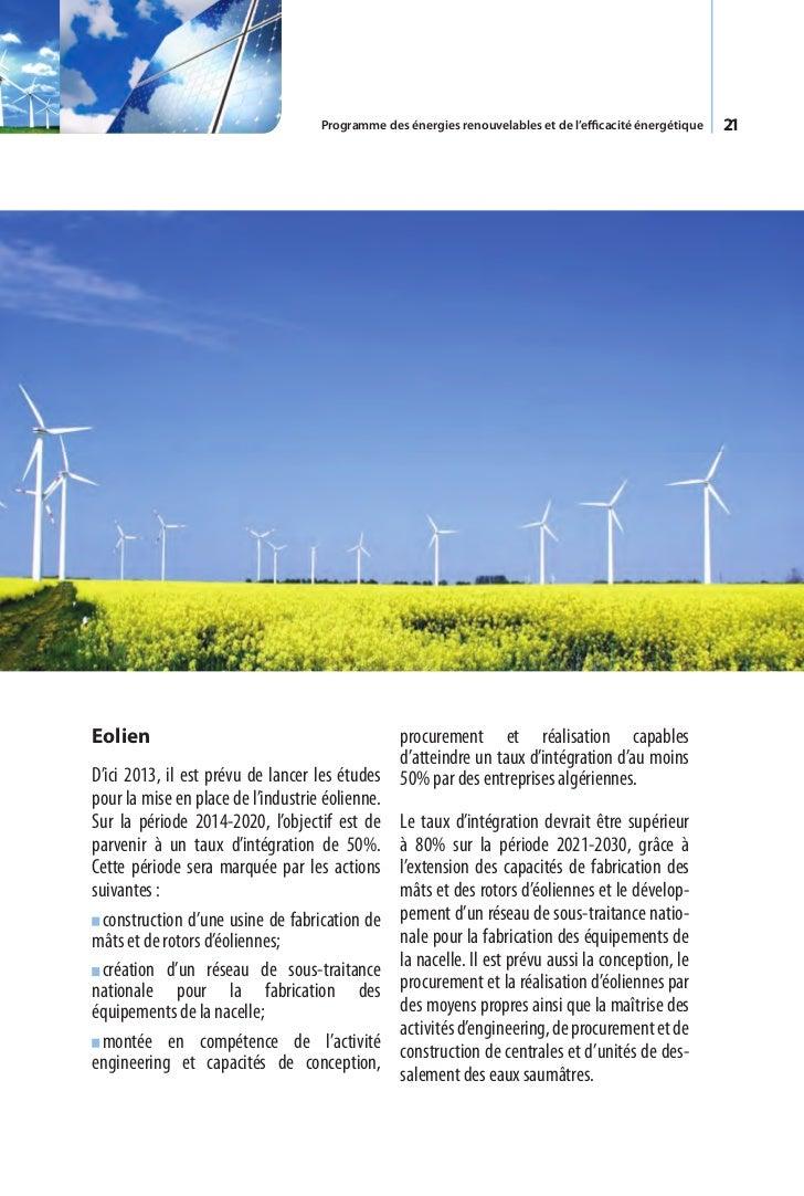 Programme des énergies renouvelables et de l'efficacité énergétique   23Chapitre IV.  R  echerche     et développement