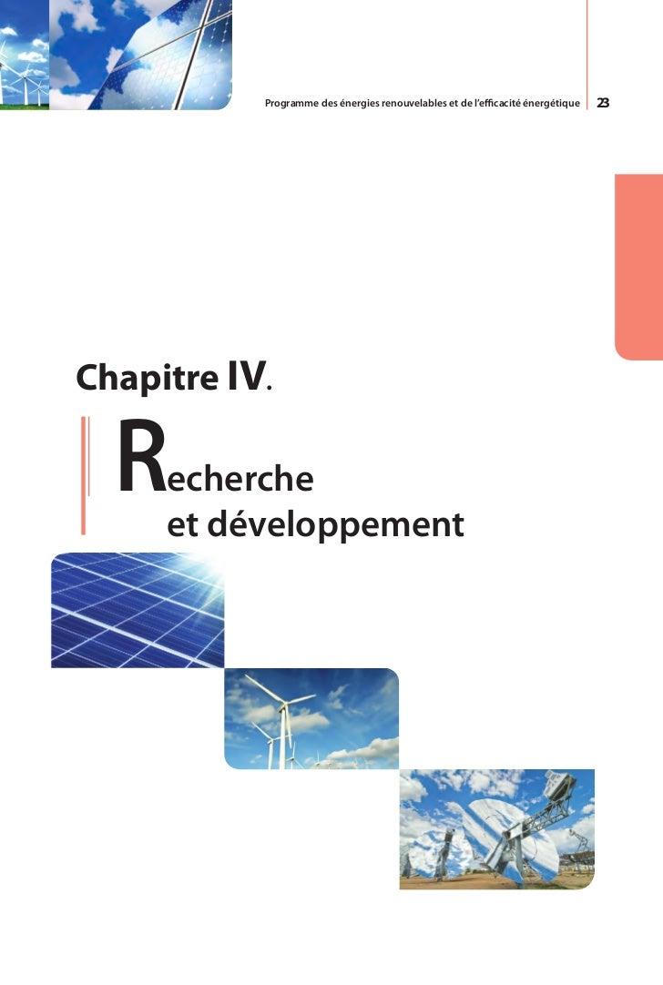 Programme des énergies renouvelables et de l'efficacité énergétique   25L'UDTS, unité de développement de la            bl...