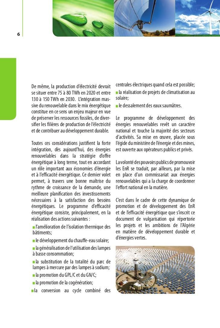 Programme des énergies renouvelables et de l'efficacité énergétique   7Chapitre I.   P rogramme     des énergies renouvela...