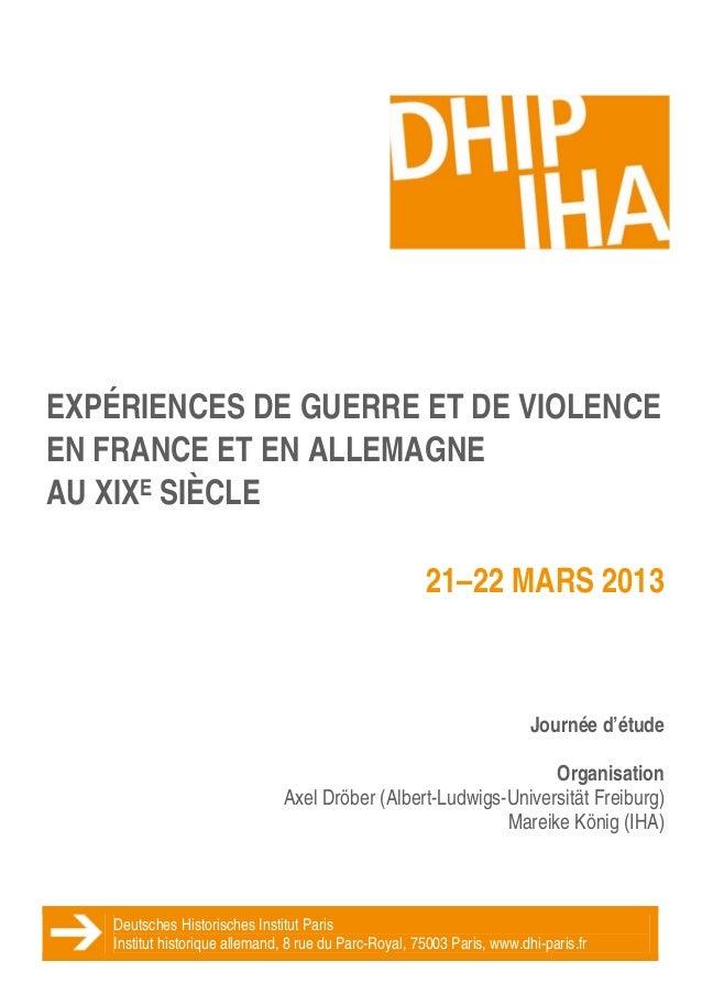 EXPÉRIENCES DE GUERRE ET DE VIOLENCE    EN FRANCE ET EN ALLEMAGNE    AU XIXE SIÈCLE                                ...