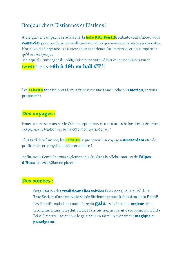 Programme FeistiF