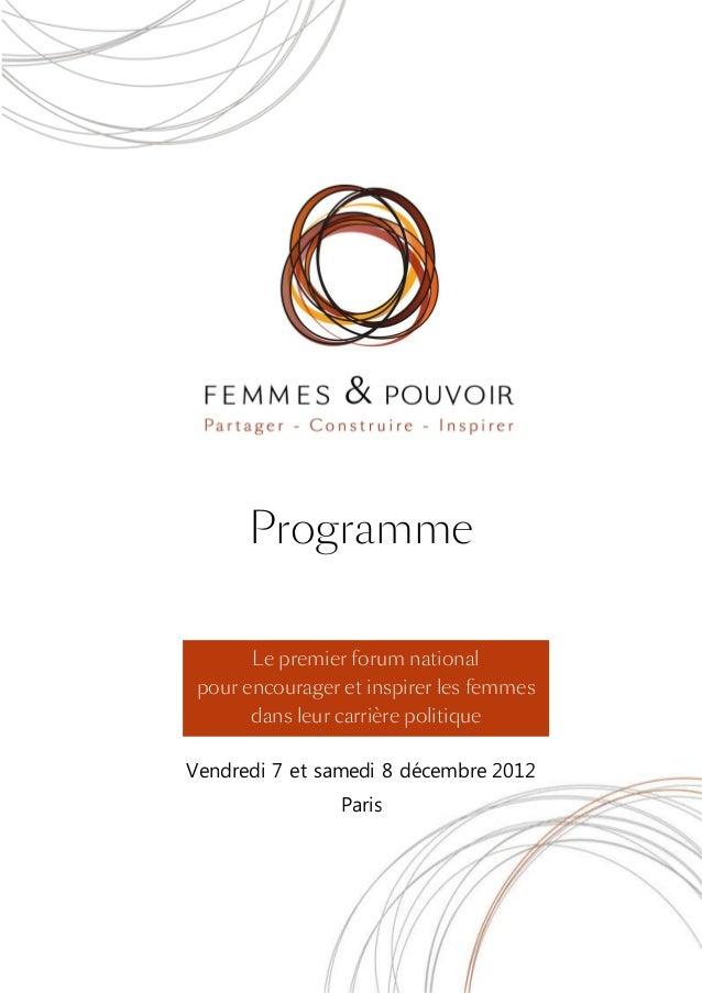 Programme       Le premier forum national pour encourager et inspirer les femmes       dans leur carrière politiqueVendred...