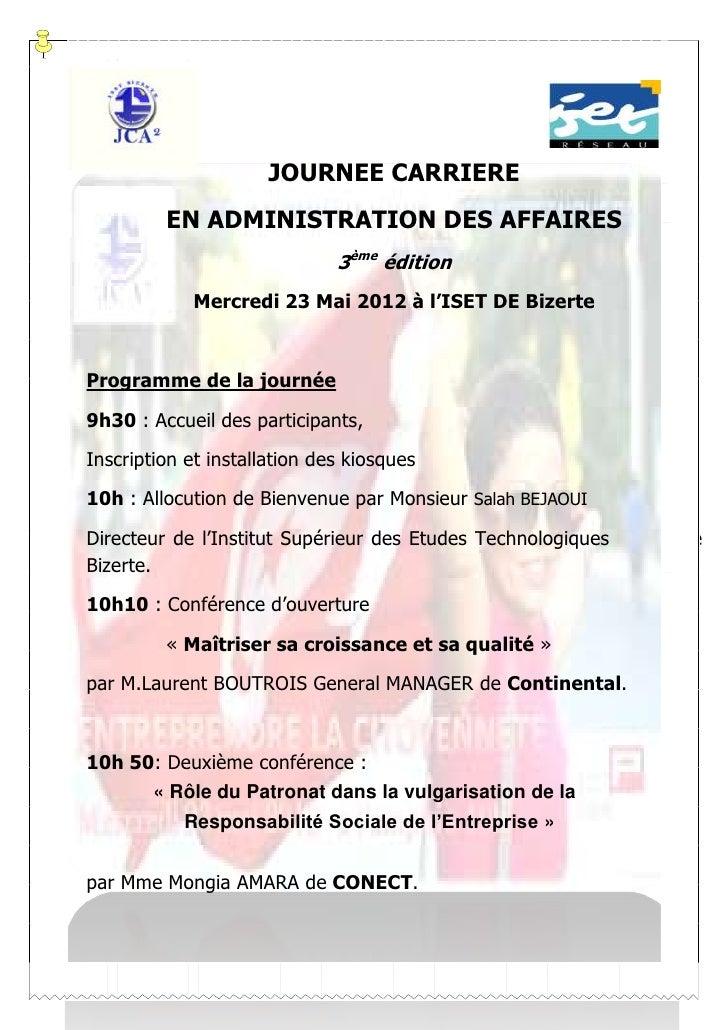 JOURNEE CARRIERE         EN ADMINISTRATION DES AFFAIRES                              3ème édition             Mercredi 23 ...