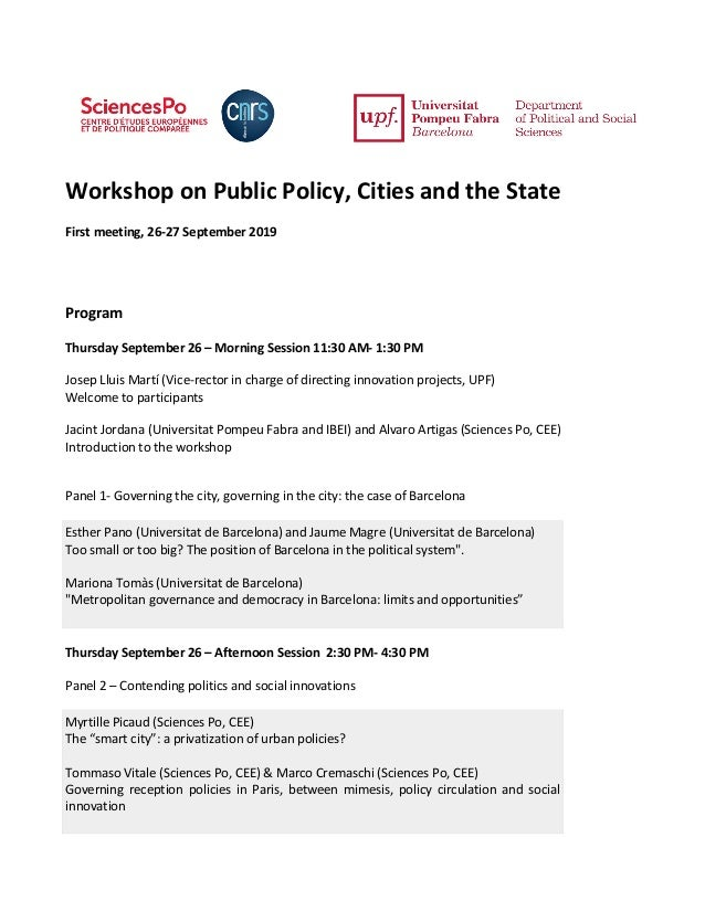Workshop on Public Policy, Cities and the State First meeting, 26-27 September 2019 Program Thursday September 26 – Mornin...