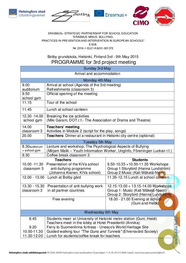 Programme For Helsinki Project Meeting