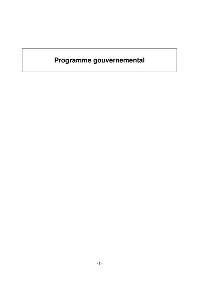 Programme gouvernemental  -1-