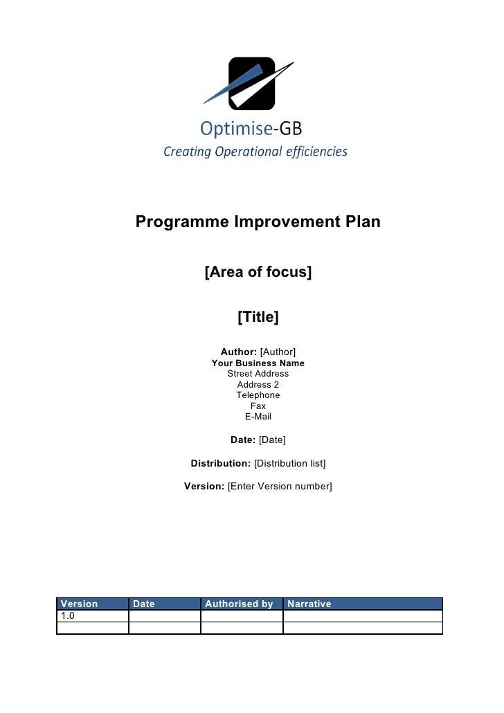 Programme Improvement Plan                     [Area of focus]                             [Title]                        ...