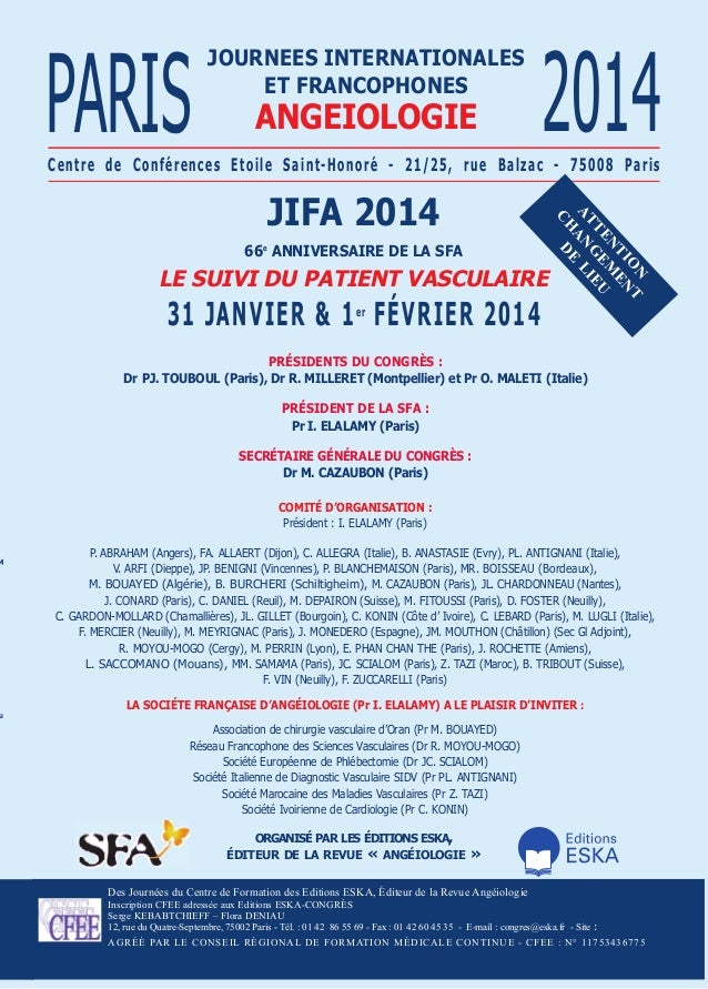 u  angeioLogie  2014  Centre de Conférences etoile saint-Honoré - 21/25, rue Balzac - 75008 Paris  jifa 2014 66e anniversa...