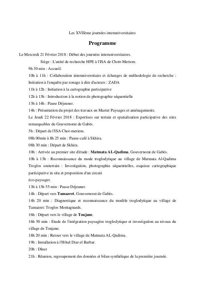 Les XVII�me journ�es interuniversitaires Programme Le Mercredi 21 F�vrier 2018 : D�but des journ�es interuniversitaires. S...