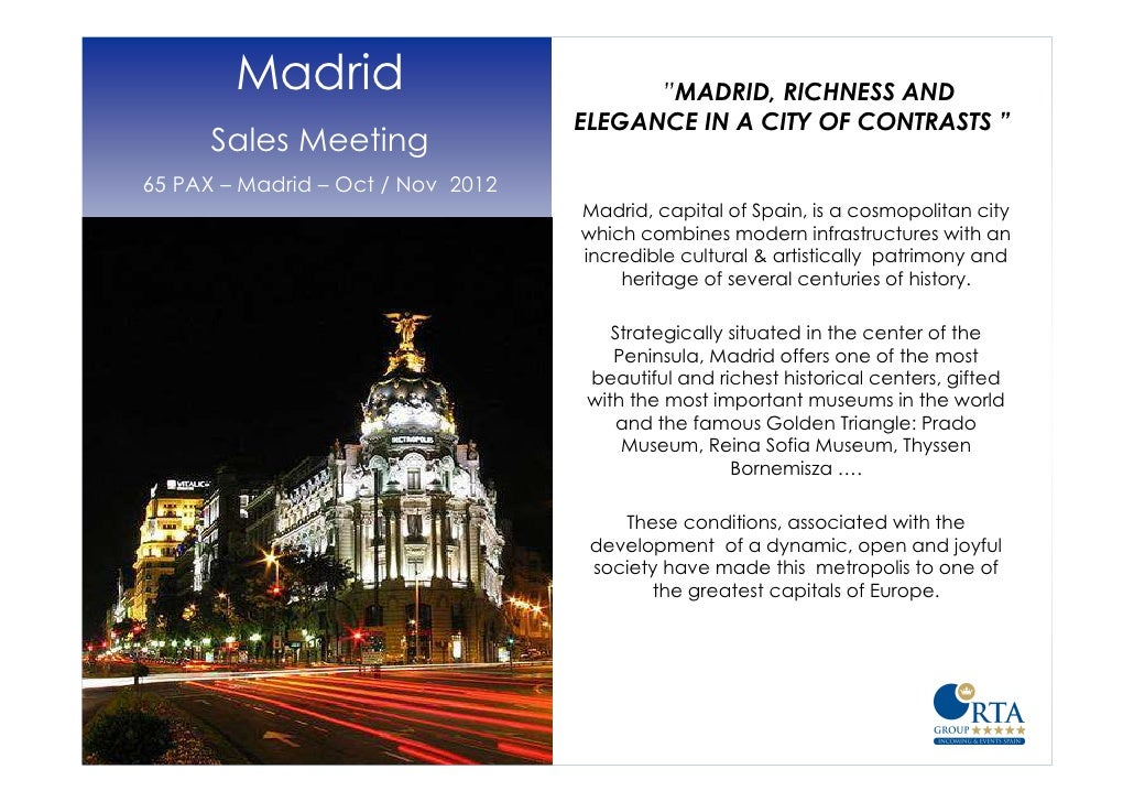 """Madrid                           """"MADRID, RICHNESS AND                                   ELEGANCE IN A CITY OF CONTRASTS """"..."""
