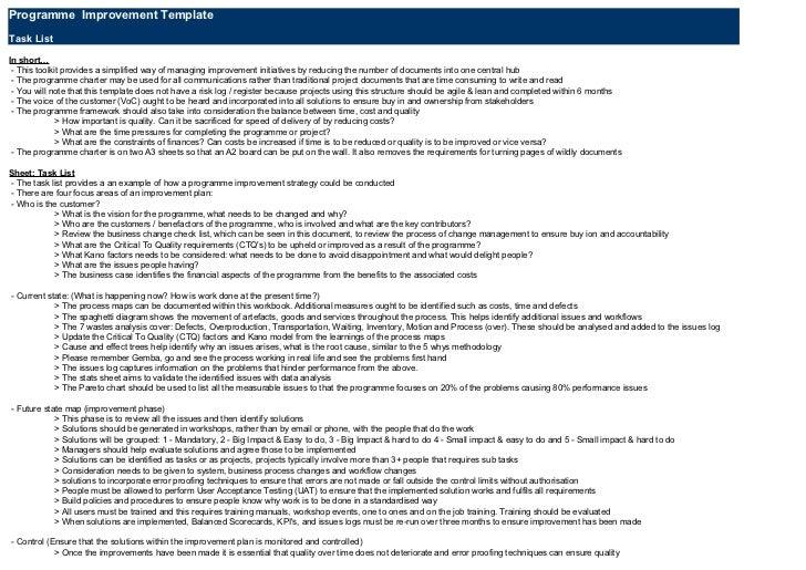 Programme Improvement TemplateTask ListIn short… - This toolkit provides a simplified way of managing improvement initiati...