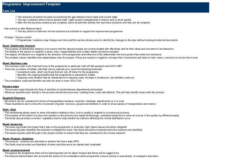 Programme Improvement TemplateTask List            > The solutions should be focused on achieving the gap between future s...