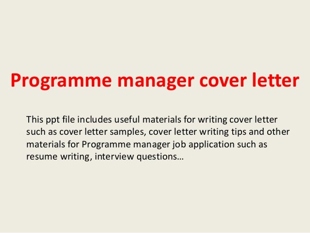 programme manager cover letter
