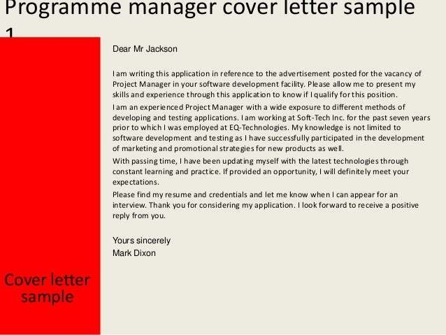 Charming Programme Manager Cover Letter