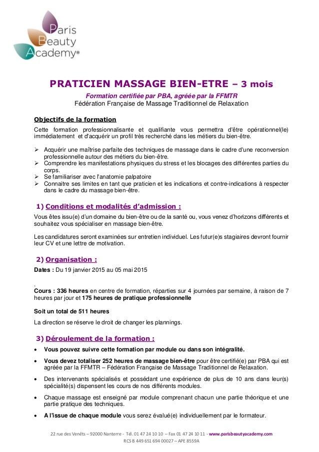 Programme Massage Bien être 2014