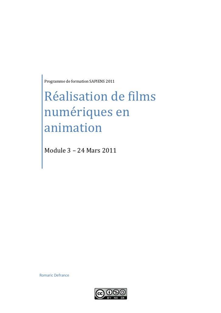 Réalisation de films  Programme de formation SAPIENS 2011  numériques en  animation  Module 3 – 24 Mars 2011Romaric Defrance