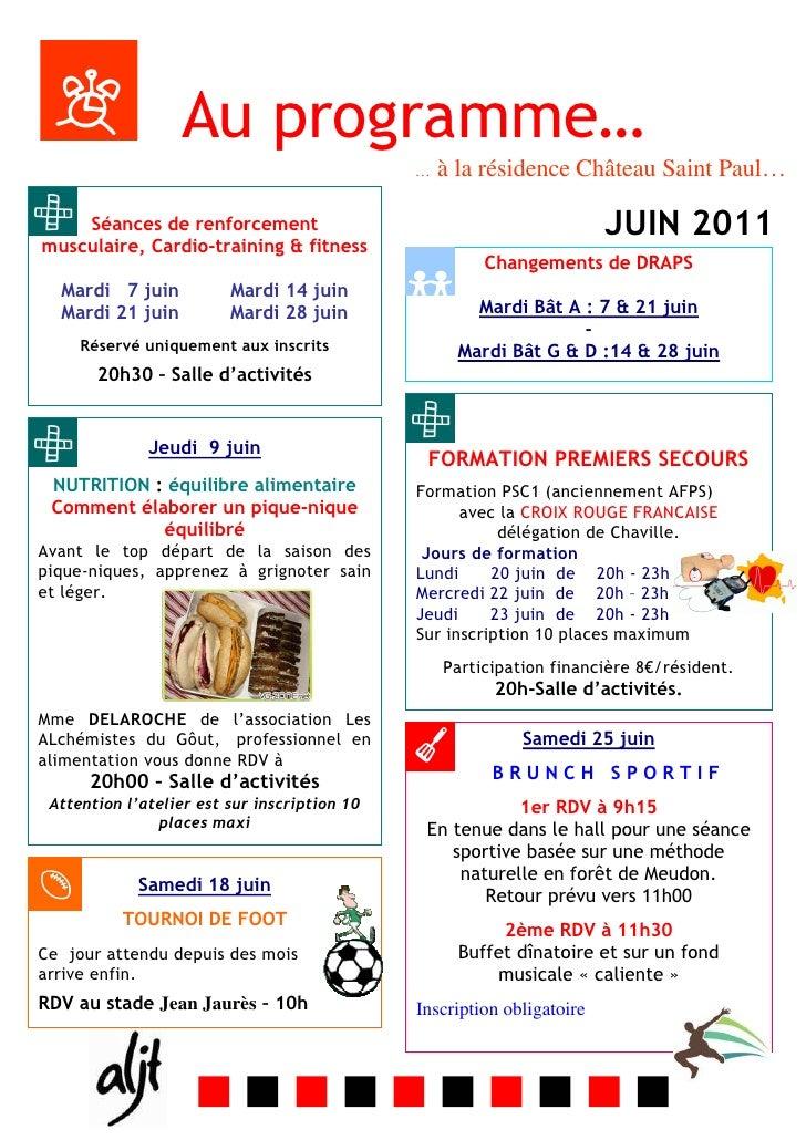 Au programme…                                              …   à la résidence Château Saint Paul…    Séances de renforceme...