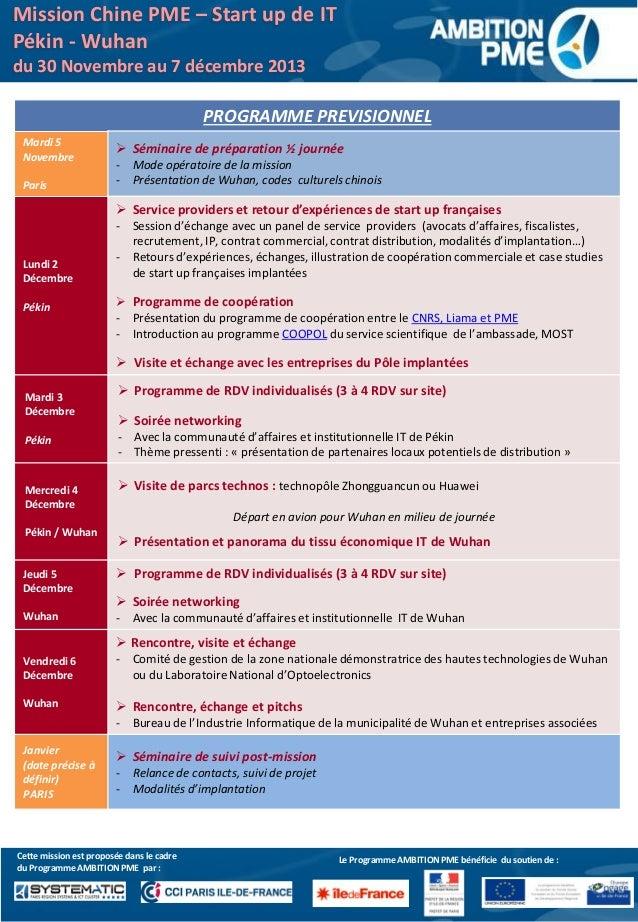 Programme mission accompagnement chine décembre 2013 Slide 2