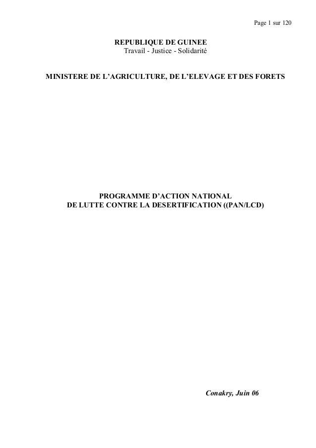 Page 1 sur 120 REPUBLIQUE DE GUINEE Travail - Justice - Solidarité MINISTERE DE L'AGRICULTURE, DE L'ELEVAGE ET DES FORETS ...