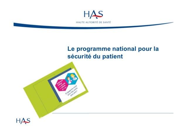 Le programme national pour la sécurité du patient  Semaine sécurité du patient - ARS Bretagne