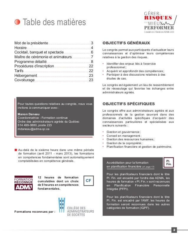 Programme Congrès ADMA - Gérer les risques pour mieux performer Slide 2