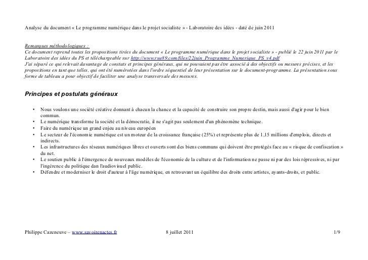 Analyse du document « Le programme numérique dans le projet socialiste » - Laboratoire des idées - daté de juin 2011Remarq...