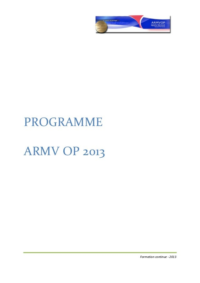 PROGRAMME  ARMV OP 2013     ...