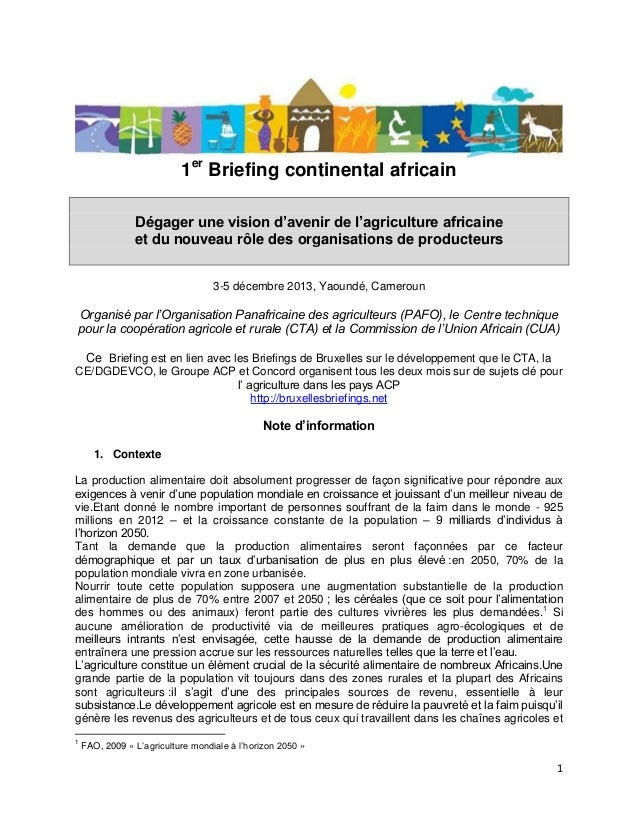 1er Briefing continental africain Dégager une vision d'avenir de l'agriculture africaine et du nouveau rôle des organisati...