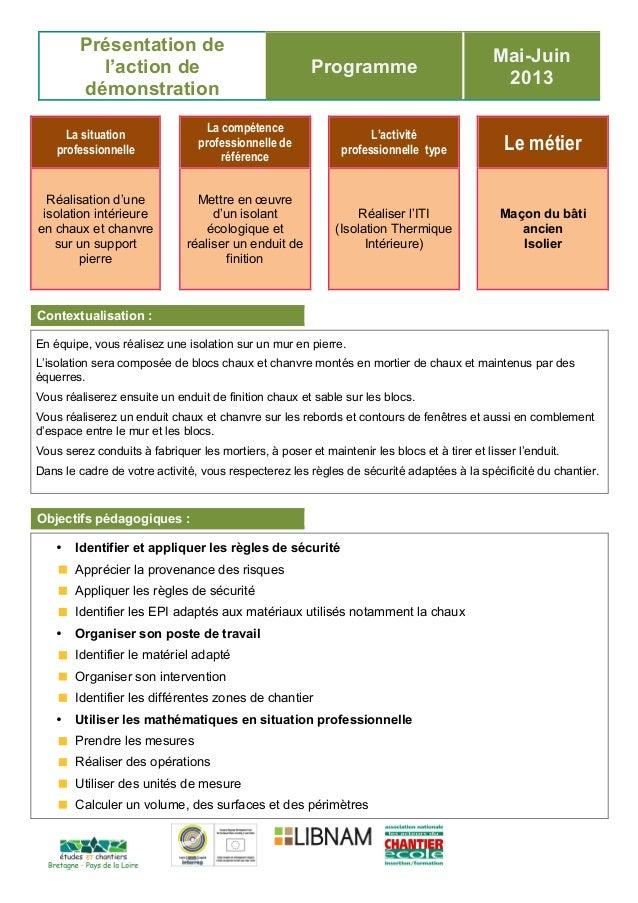 Présentation de l'action de démonstration Programme Mai-Juin 2013 La situation professionnelle La compétence professionnel...