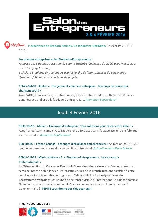 Programme p pite france salon des entrepreneurs paris 2016 for Salon des entrepreneurs paris 2016