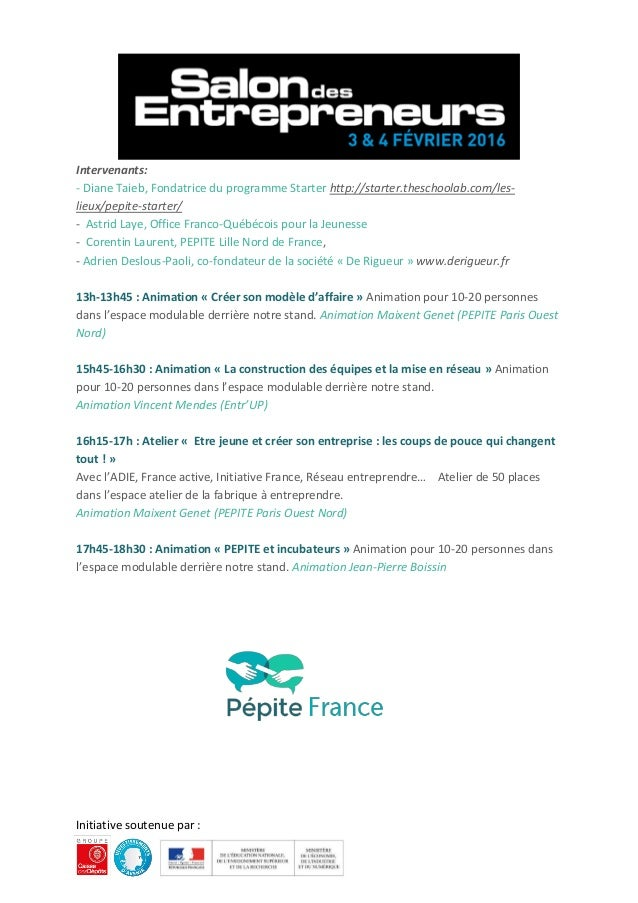 Programme p pite france salon des entrepreneurs paris 2016 for Salon des entrepreneurs de paris