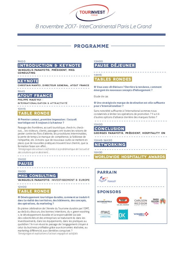 8 novembre 2017- InterContinental Paris Le Grand 9H00  introduction & KEYNOTE  VANGUELIS PANAYOTIS, PRÉSIDENT, MKG CONSULT...