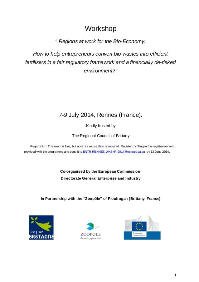 """Workshop """" Regions at work for the Bio-Economy: How to help entrepreneurs convert bio-wastes into efficient fertilisers in..."""