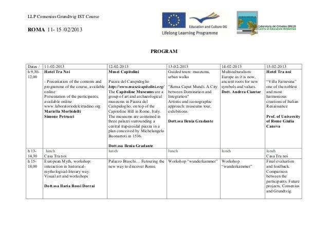 LLP Comenius Grundtvig IST CourseROMA 11- 15 /02/2013                                                                 PROG...