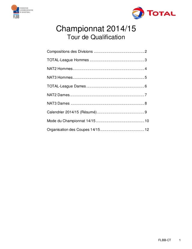 FLBB-CT 1 Championnat 2014/15 Tour de Qualification Compositions des Divisions ..............................................