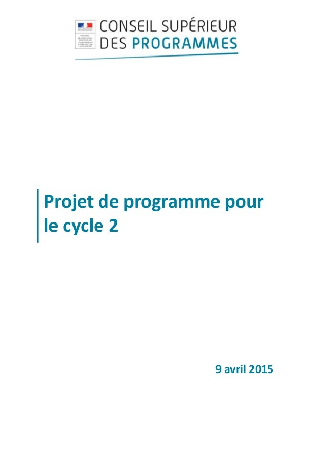 Projetdeprogrammepour lecycle2     9avril2015