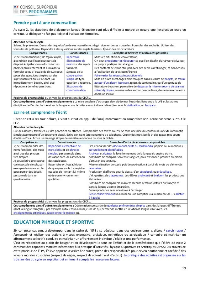 Programme scolaire 2015