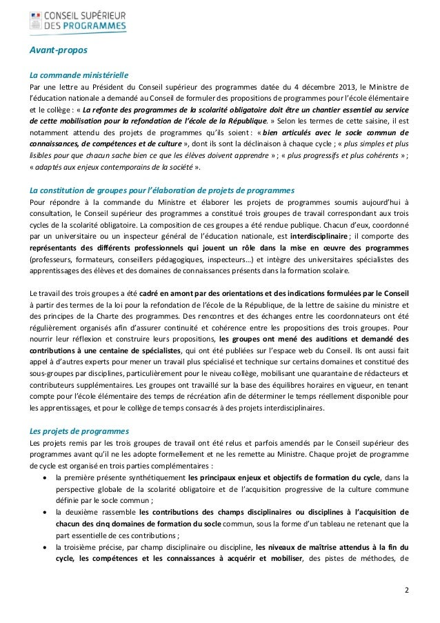 2  Avant‐propos  Lacommandeministérielle Par une lettre au Président du Conseil supérieur des programm...