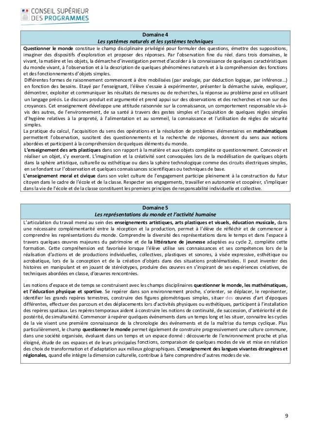 9  Domaine4 Lessystèmesnaturelsetlessystèmestechniques Questionnerlemondeconstituelechampdisciplinair...