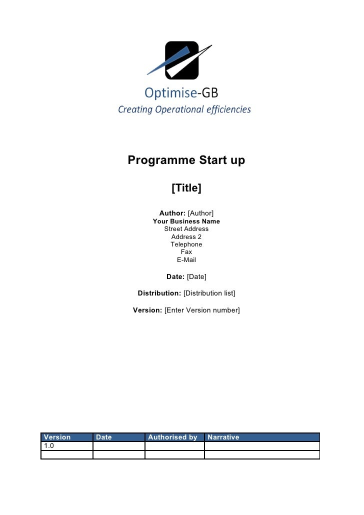 Programme Start up                             [Title]                         Author: [Author]                       Your...
