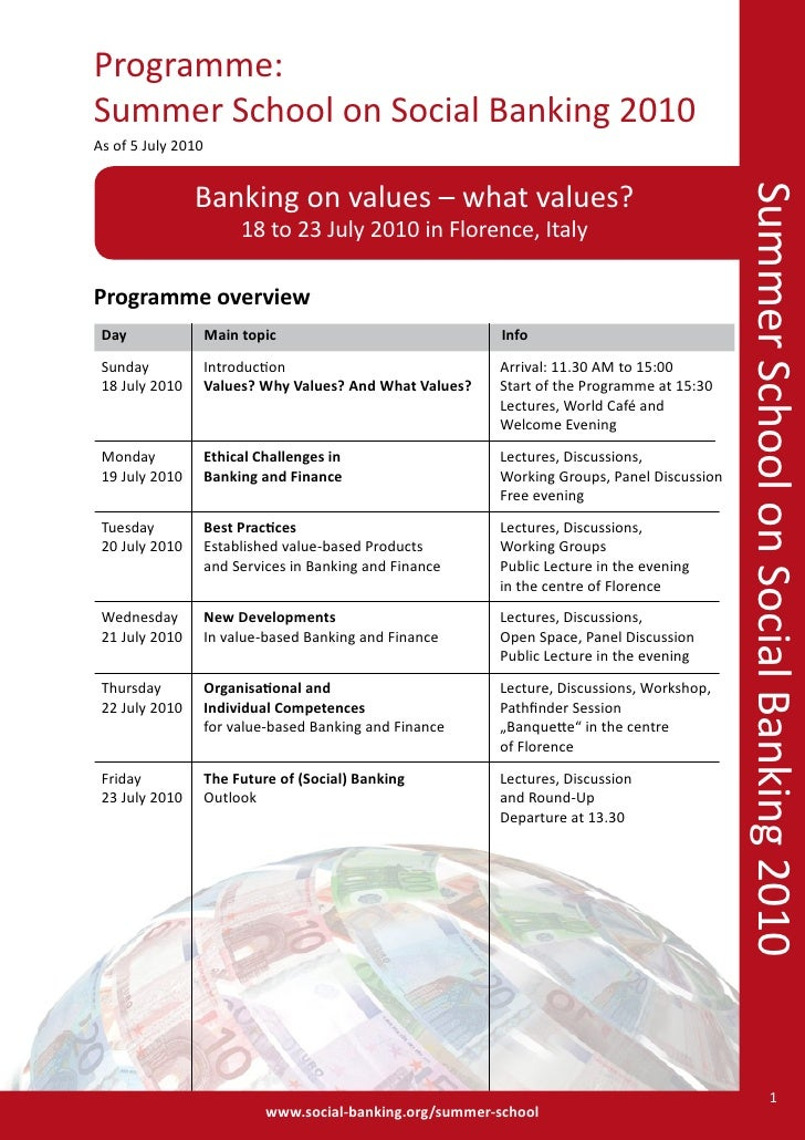 Programme: Summer School on Social Banking 2010 As of 5 July 2010                   Banking on values – what values?      ...