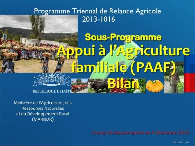 Programme Triennal de Relance Agricole