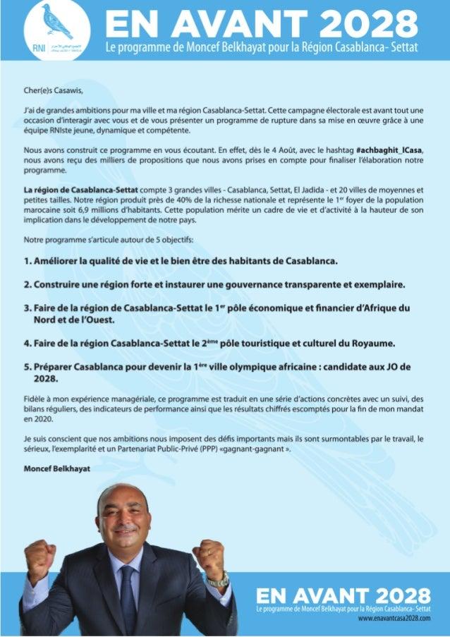 En Avant Casablanca 2028 - Le programme de Moncef Belkhayat