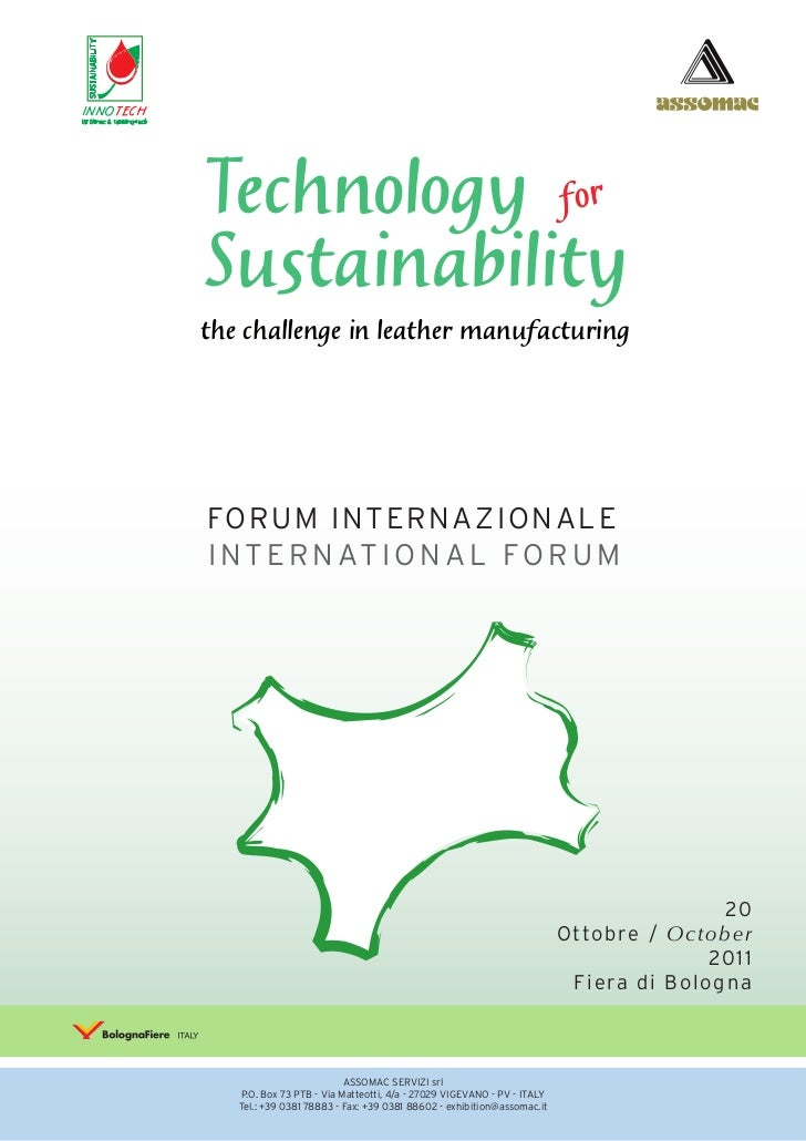 INNOTECH           Technology for           Sustainability           the challenge in leather manufacturing           FORU...
