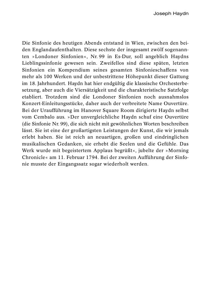 Joseph HaydnDie Sinfonie des heutigen Abends entstand in Wien, zwischen den bei-den Englandaufenthalten. Diese sechste der...