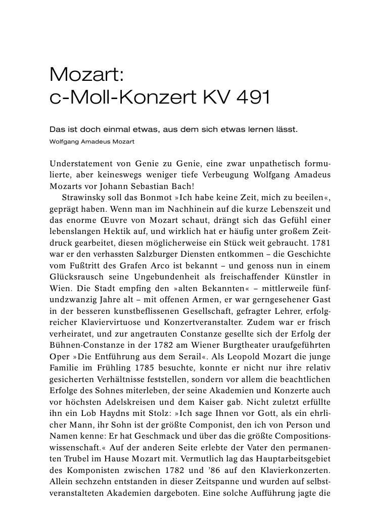 Mozart:c-Moll-Konzert KV 491Das ist doch einmal etwas, aus dem sich etwas lernen lässt.Wolfgang Amadeus MozartUnderstateme...