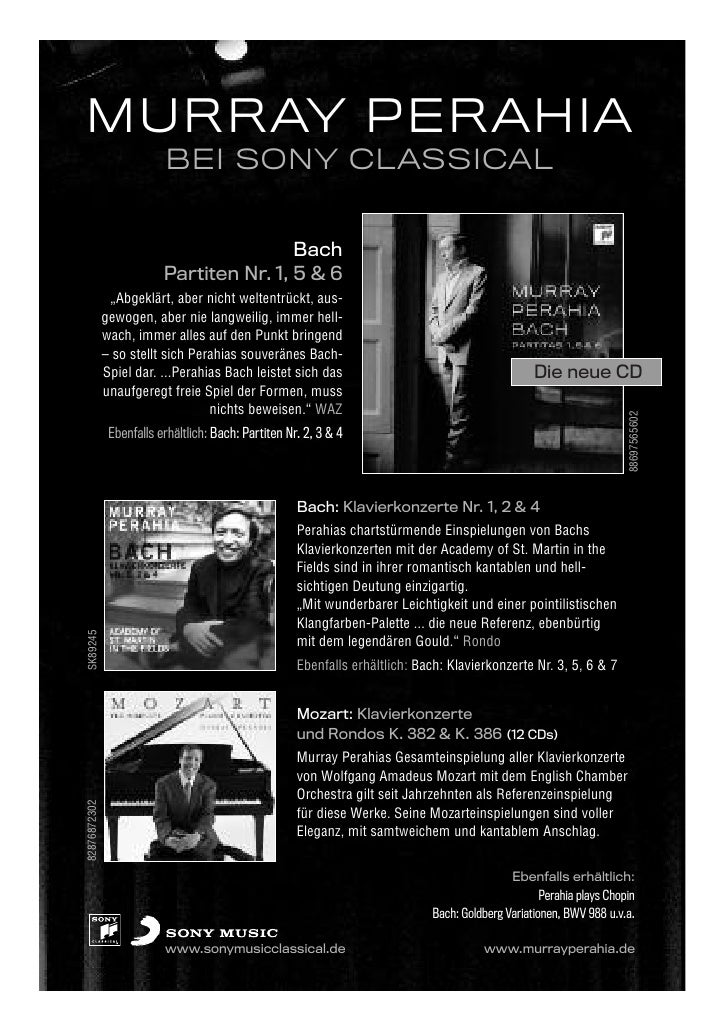 MURRAY PERAHIA                          BEI SONY CLASSICAL                                          Bach                  ...