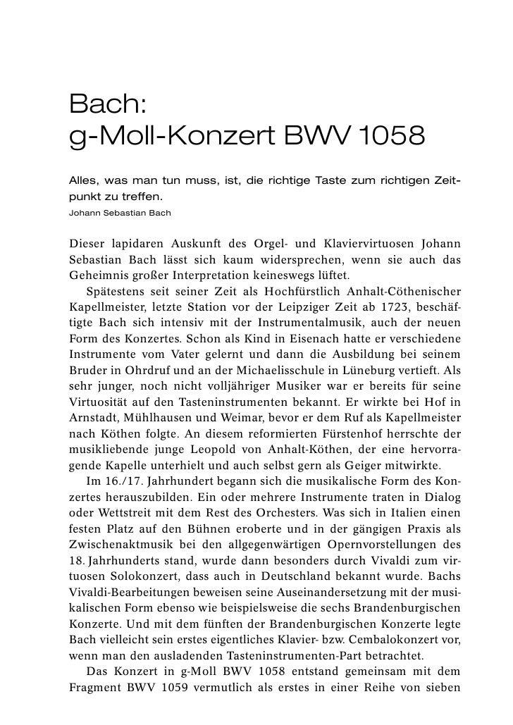 Bach:g-Moll-Konzert BWV 1058Alles, was man tun muss, ist, die richtige Taste zum richtigen Zeit-punkt zu treffen.Johann Se...